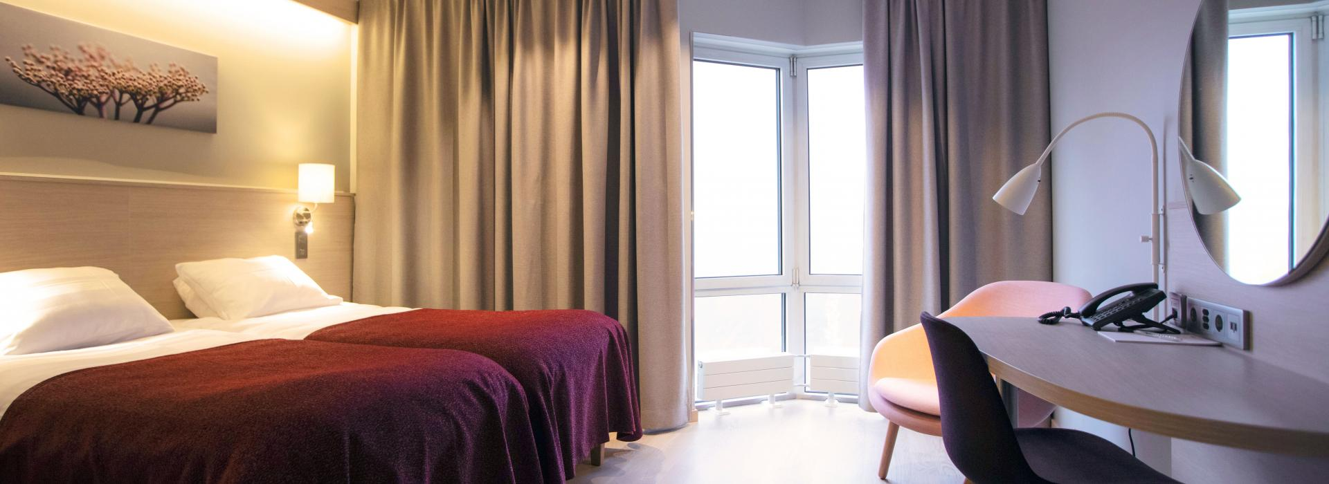 Nyrenoverade rum på Park Alandia Hotell i Mariehamn