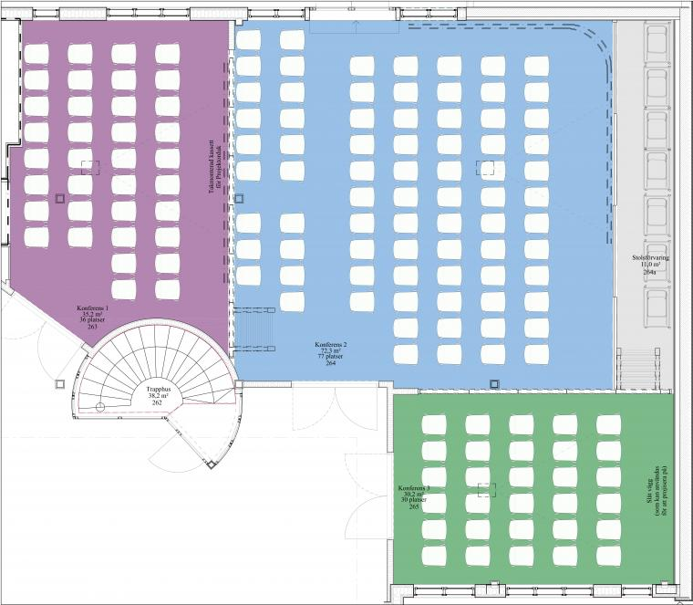 Arkitektritning över konferensutrymmen vid Park Alandia Hotell